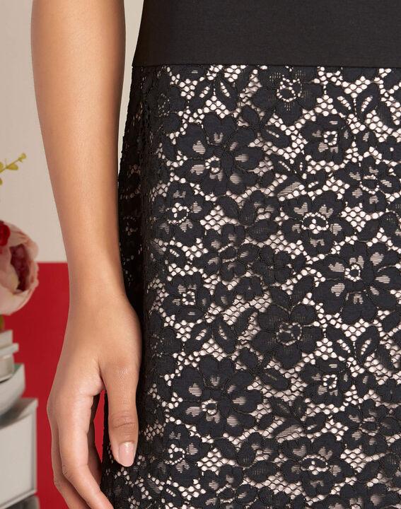 Ylune dual-fabric black straight-cut lace dress PhotoZ | 1-2-3