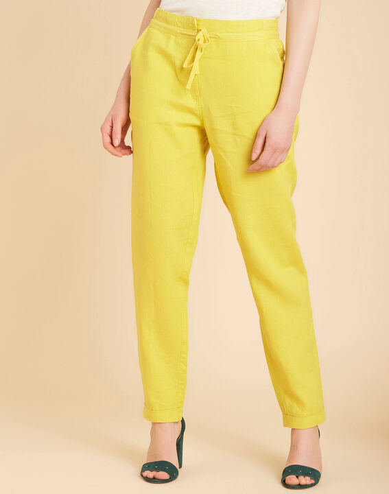 Joris yellow trousers in linen (3) - 1-2-3