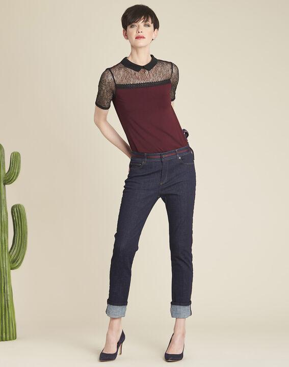 Marineblaue Straight Cut-Jeans mit seitlichen bordeauxroten Streifen Vivienne (2) - 1-2-3