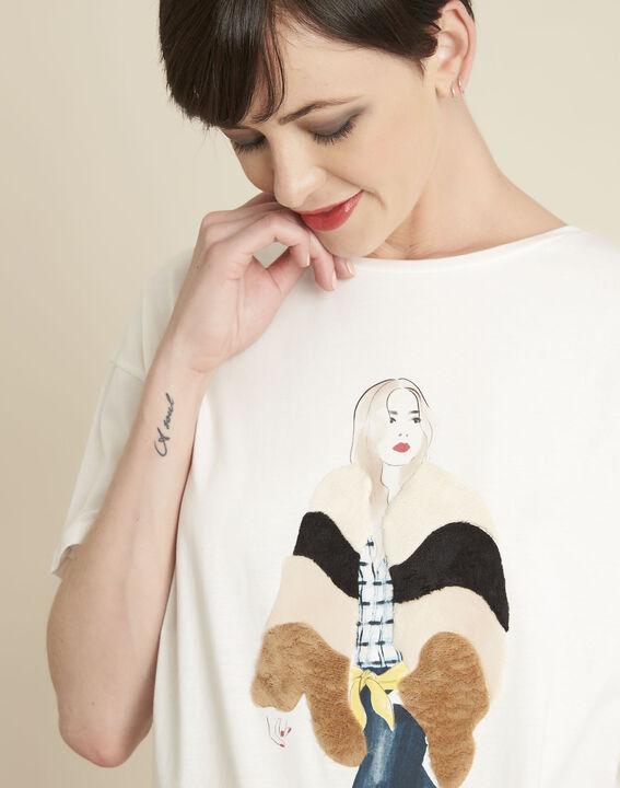 Tee-shirt blanc en coton imprimé Gabrielle (2) - 1-2-3