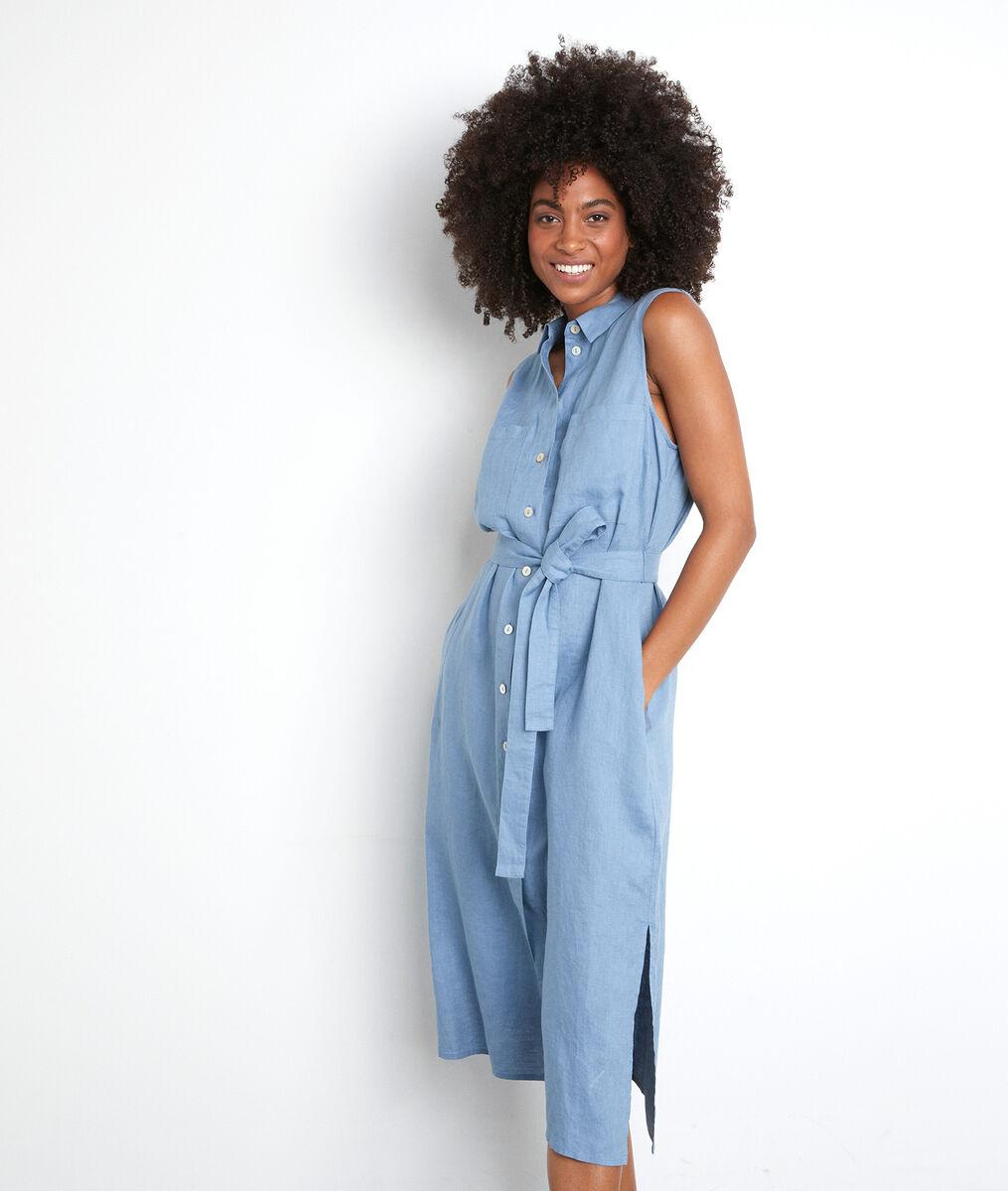 Robe chemise sans manches en lin certifié bleu ciel Cyrielle PhotoZ   1-2-3