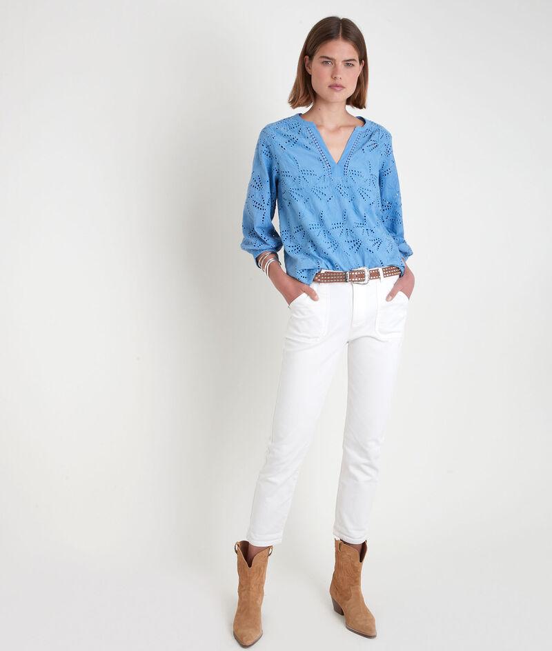 Blauwe blouse met Engels borduurwerk Tebene PhotoZ | 1-2-3