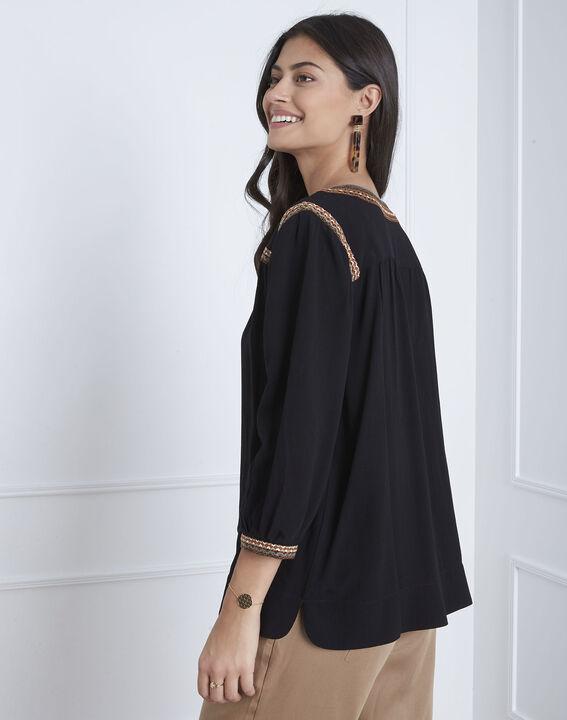 Schwarze Bluse mit Ethno-Stickerei Vita (4) - Maison 123