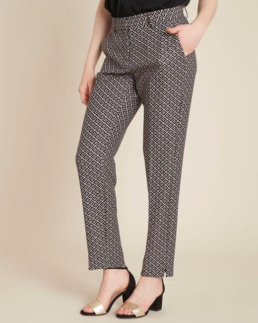 Pantalon noir & blanc imprimé fleuri Viva (2) - 1-2-3
