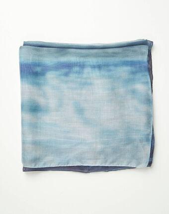 Blauw sjaaltje met tie-and-dye-effect aloha bleu.
