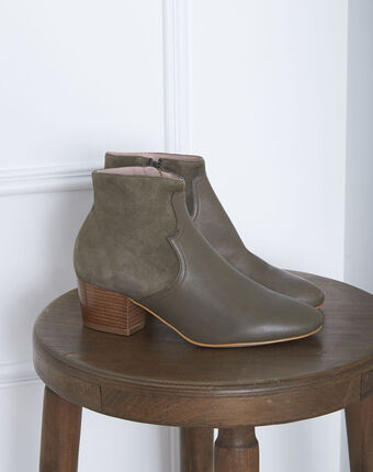 Kendal dual-fabric heeled ankle boots in khaki kaki.