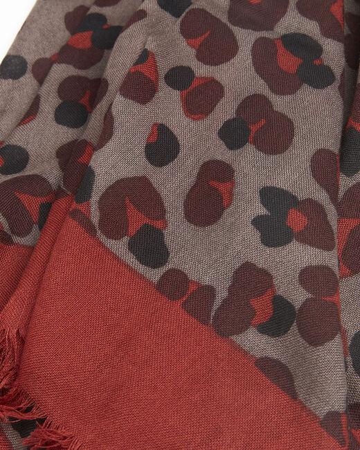 Foulard kaki imprimé peau de bête en laine Fancy (1) - 1-2-3
