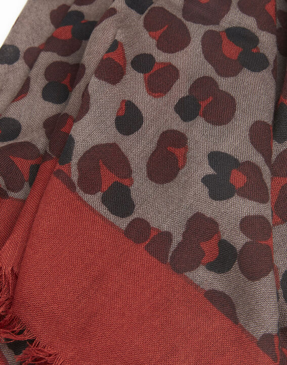 Foulard kaki imprimé peau de bête en laine Fancy (2) - 1-2-3