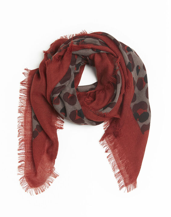 Fancy khaki wool animal print scarf (1) - 1-2-3