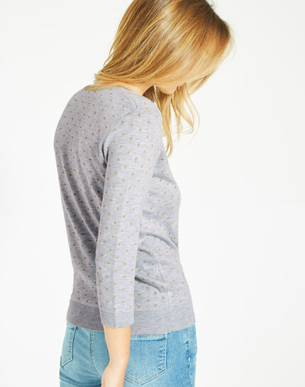 Prisme marl grey sweater with polka dot detailing and a rounded neckline (5) - 1-2-3