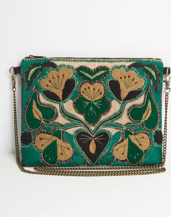 Danielle embroidered green shoulder bag with chain dark teal.