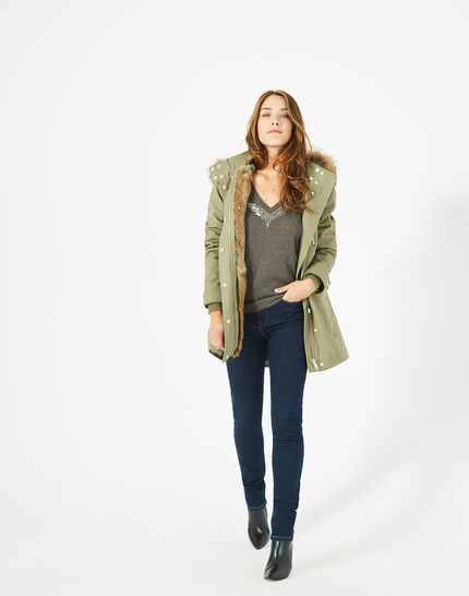 Xelia leaf green parka with real fur (1) - 1-2-3