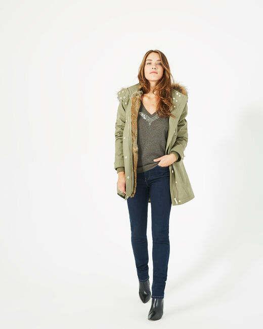 Xelia leaf green parka with real fur (2) - 1-2-3