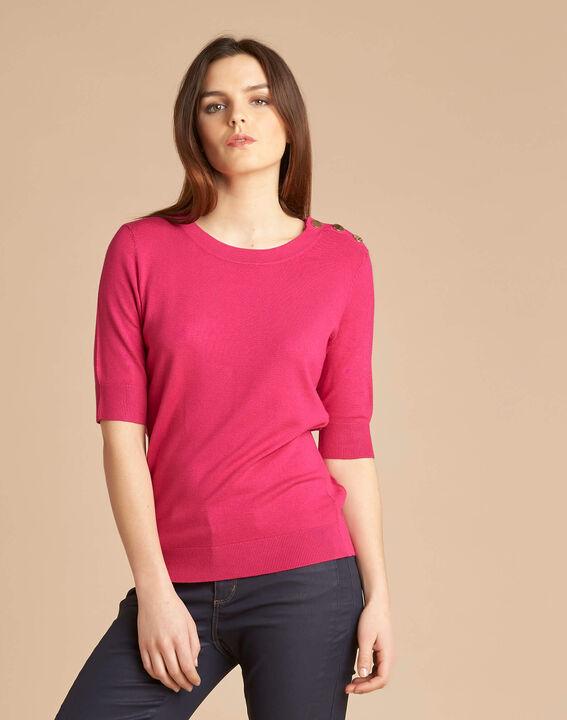 Natacha fuchsia sweater with rounded neckline (3) - 1-2-3