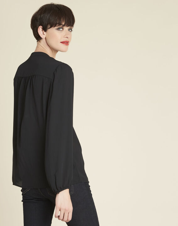 Cheryl black blouse with laced neckline (4) - 1-2-3