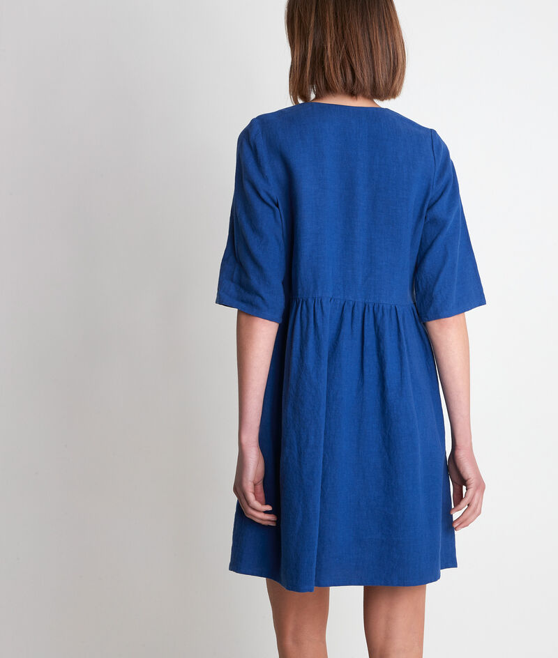 Robe en lin boutonnée bleue Lalou PhotoZ   1-2-3