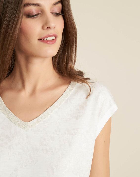 Enight V-neck sparkly ecru T-shirt PhotoZ | 1-2-3
