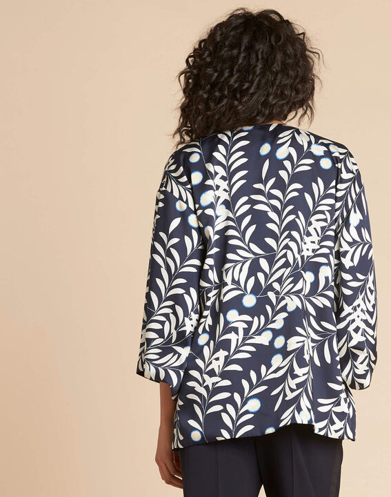 Blaue Kimono-Jacke mit Blumenprint Ugo (4) - 1-2-3