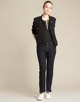 Garry black blouse with contrasting neckline black.