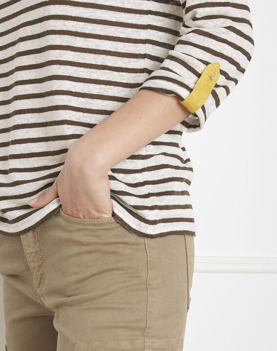 Tee-shirt écru rayé en lin Pise (3) - Maison 123