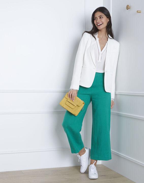 Pantalon vert court en lin Ghazala PhotoZ | 1-2-3