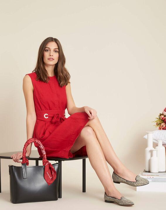 Poppy red linen dress with belt (2) - 1-2-3