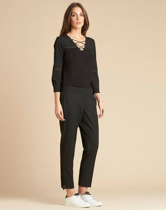 Valero tailored trousers with crease and lace detailing black.