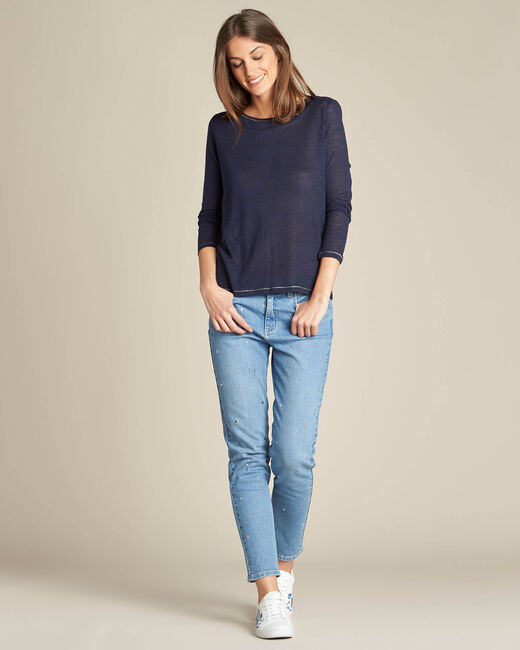 Elin navy blue t-shirt in linen with golden topstitching (1) - 1-2-3