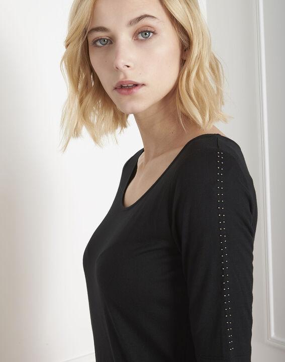 Schwarzes T-Shirt mit Ärmeldetails Palerme (3) - Maison 123