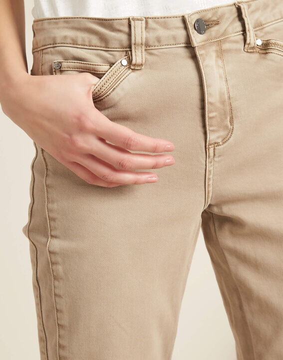 Opera slim-cut camel jeans with zips at the waist PhotoZ | 1-2-3