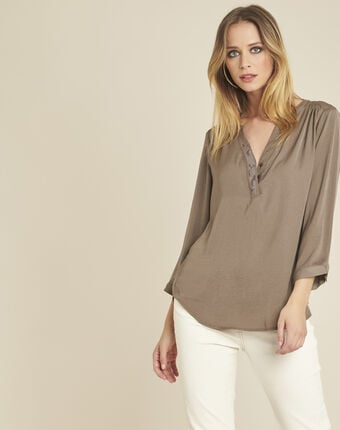 Cassy khaki blouse with granddad collar and beaded neckline kaki.