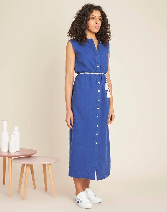 Papillon log blue linen shirt-dress (3) - 1-2-3