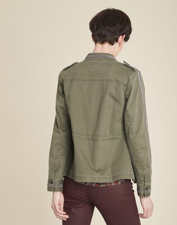 Khakifarbene Army-Jacke mit Stickerei Saphir (4) - 1-2-3