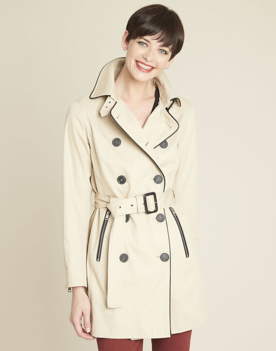 Eclipse beige cotton mix trench coat with contrasting bias PhotoZ | 1-2-3