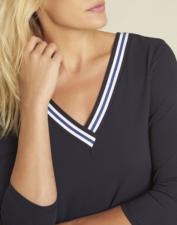Clare navy bi-material blouse with V-neck (3) - 1-2-3