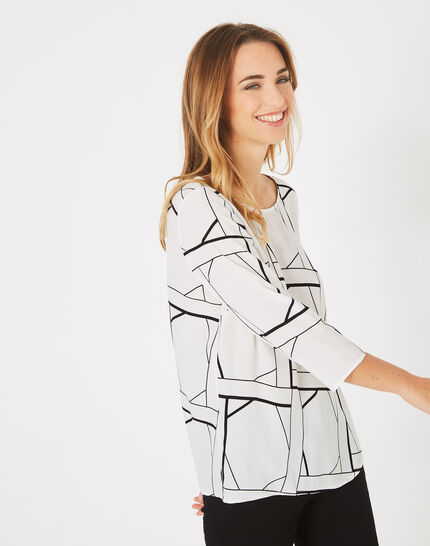 Balneo white blouse with a graphic print (3) - 1-2-3