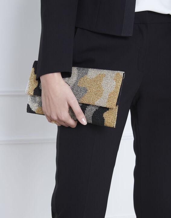 Khakifarbene Tasche mit Perlenbesatz Ussel (4) - Maison 123