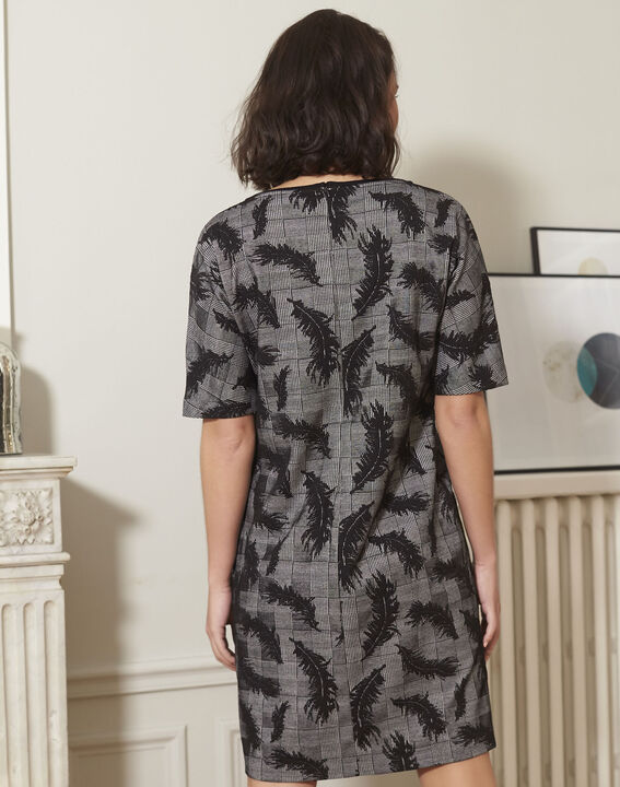 Destiny grey dress with feather print (4) - 1-2-3