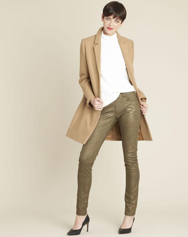 Kaki slim-fit jeans met coating en dierenprint Vendome (2) - 37653