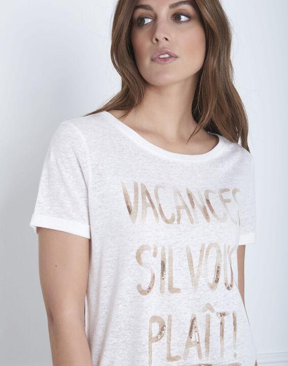 Tee-shirt écru message lin mélangé Patagonia (3) - Maison 123