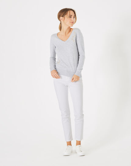 Planète marl, light grey sweater with V-neck and diamante PhotoZ | 1-2-3
