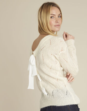 Mohair jumper with lace-up back cream.