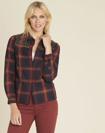 Clara check-printed navy blue shirt with studded detailing navy.