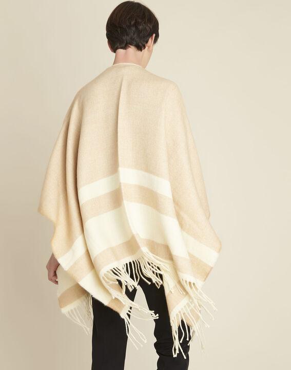 Fadila camel fringed poncho (4) - Maison 123