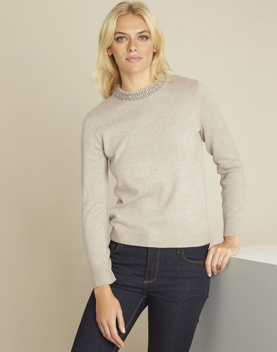 Bulle cream pullover with decorative neckline PhotoZ | 1-2-3