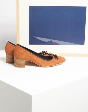 Kalista camel velvet-effect shoes with square heels camel.