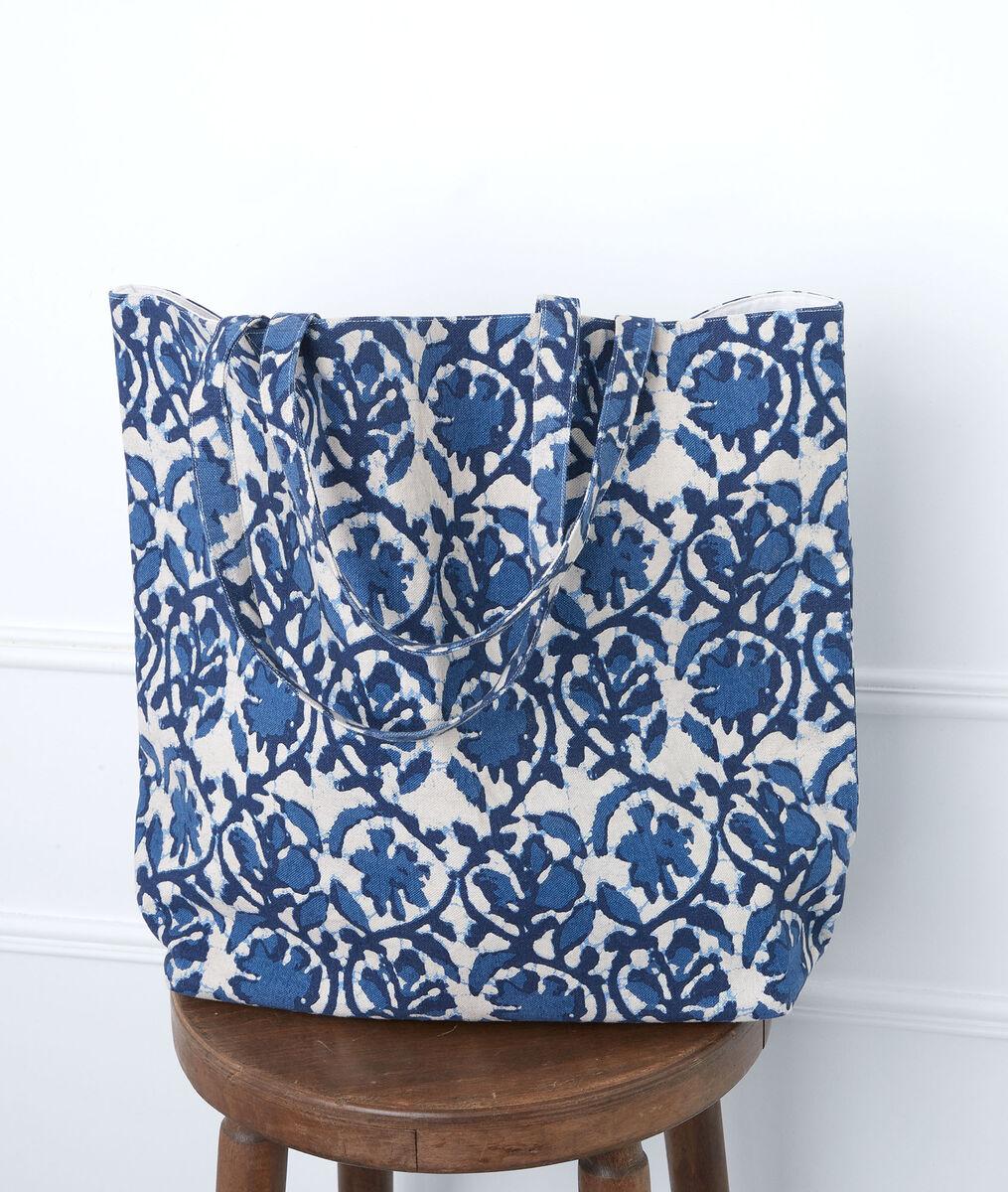 Grand cabas imprimé bleu en coton Magnolia PhotoZ | 1-2-3