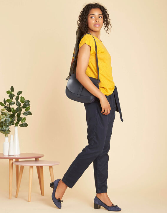 Emireille yellow linen T-shirt with stud motifs  (2) - 1-2-3