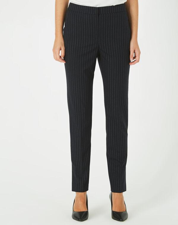 Pantalon noir de tailleur à rayures vicky à