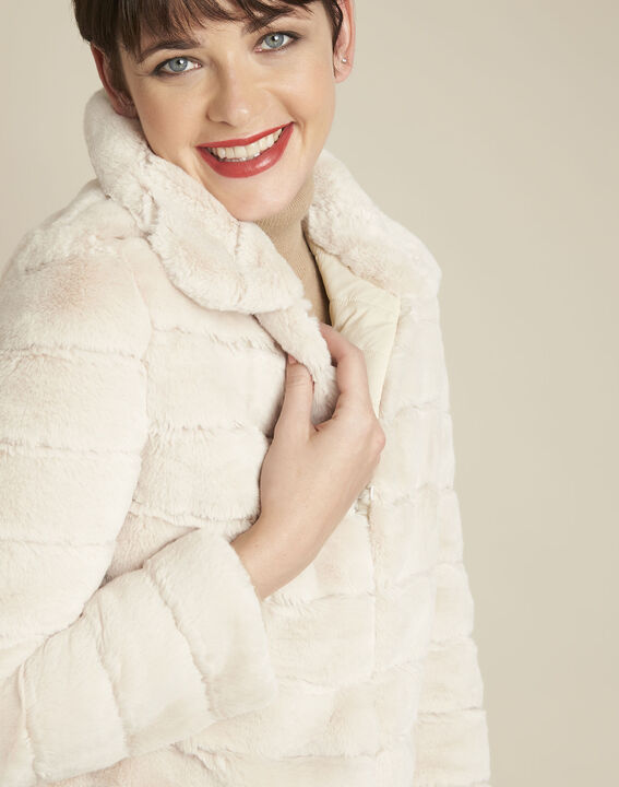 Laura ecru reversible faux fur jacket (3) - 1-2-3